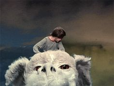 NeverEnding Story (1984) flick: flying high on the cutest monster dragon ever ; ) (by GoMediaArsenal gifs.com/DAP)