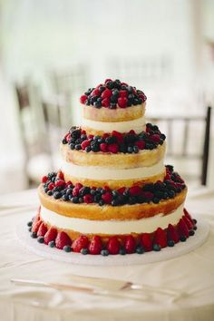 4th of july rustic naked wedding cake / http://www.himisspuff.com/red-white-and-blue-4th-of-july-wedding-ideas/4/