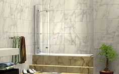 Buy 1200 x three panel folding shower bath screen online in Australia Bath Shower Screens, Frameless Shower, Small Bathroom, Bathroom Ideas, Bathrooms, Glass Screen, New Homes, Art Deco, Doors