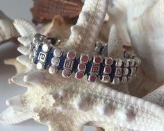 Handmade silver cube brass beads bracelet by NickiBeachAcc on Etsy