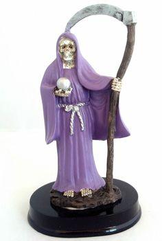 5 Inch Statue Santa Muerte Morada Purple Holy Death Grim Reaper Skull Skeleton