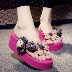 efab8f4128700d Summer Shoes Handmade Flowers Flip Flops Women Slippers Beach Shoes Plus  Size Wedge Heel Slides Sandals