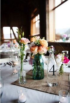 Table setting with glass vase