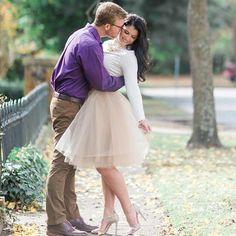 engagement photo in Space 46 tulle skirt, inspiration outfit, fall