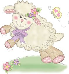 cute little lamb Sheep Cards, Cute Sheep, Sheep And Lamb, Cute Clipart, Vintage Easter, Digi Stamps, Illustrations, Cute Illustration, Printable Art