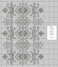 Free x stitch chart borders Hardanger Embroidery, Folk Embroidery, Cross Stitch Embroidery, Embroidery Patterns, Cross Stitch Borders, Cross Stitching, Cross Stitch Patterns, Bordado Popular, Blackwork Patterns