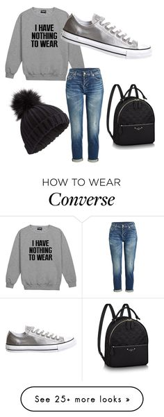 """""""Rainy school day!"""" by abbeyfriedrich on Polyvore featuring 7 For All Mankind, Converse and Miss Selfridge"""