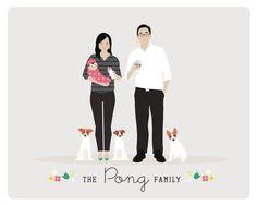 custom family portrait, family illustration by henryjamespapergoods via etsy