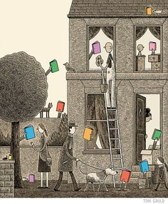 Tom Gauld's cover for The Guardian Review's books of the year issue.