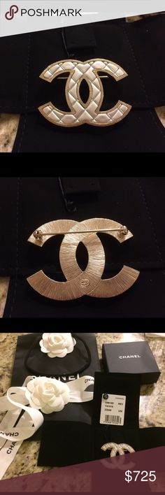 New 2016 Chanel double c brooch Guaranteed authentic Chanel intertwined CC Brooch with pearl look and gold tone- comes with box , ribbon, bag everything in picture CHANEL Jewelry Brooches