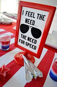 "Top Gun Inspired Quote ""I feel the need.the need for SPEED!"" Top Gun Maverick Party Printable Ins Birthday Diy, 3rd Birthday Parties, Birthday Ideas, Top Gun Party, Airplane Party, Need For Speed, Diy Party Decorations, Party Printables, The Help"