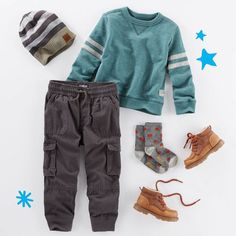 His #weekendstyle: Cargo joggers, sporty pullover and boots. Don't forget the beanie in our bio link! #oshkoshkids #fallstyle