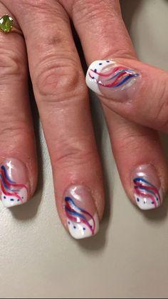 July 4th Nails Designs, Nail Art Designs, Holiday Nail Designs, 4th Of July Nails, Holiday Nails, Acrylic Nail Designs, Christmas Nails, Acrylic Nails, Flag Nails