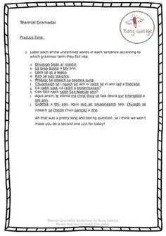 This worksheet comes from our website www.ranggaeilge.com!Pop over to the site to get the 10 point summary and the answers sheet! Grammar Activities, 10 Points, Summary, Worksheets, Irish, How To Get, Pop, Website, Learning