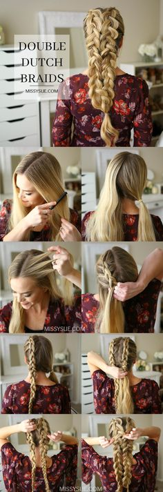 Dutch Trenzas How to do a double dutch braid tutorial. Easy hairstyle for school or workout hairstyle.How to do a double dutch braid tutorial. Easy hairstyle for school or workout hairstyle. Dutch Hair, Dutch Braids, Braids Tutorial Easy, Easy Hairstyles For School, Fine Hairstyles, Layered Hairstyles, Protective Hairstyles, Latest Hairstyles, Mermaid Hairstyles