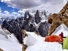 Amazing Camping site for trango tower , karakoram Pakistan Trango Towers offer some of the largest cliffs and most challenging rock climbing in the world.The east face of the Great Trango Tower 6,286 m (20,608 ft) is world's greatest nearly vertical drop ,located on the north side of the Baltoro Glacier