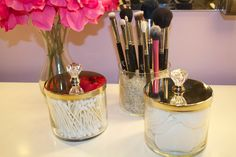 Reuse your Bath and Body Works candle jars as containers for toiletries. Full tutorial here.