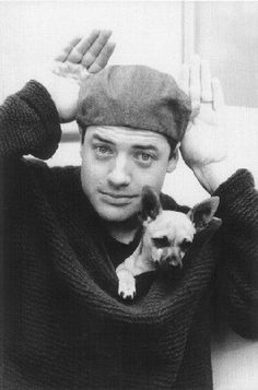 Brendan Fraser with his rescued chihuahua My Dog Owns Me Kat Morris Your Property Matters LLC Chihuahua Rescue, Cute Chihuahua, Dog Love, Puppy Love, Famous Dogs, Famous People, Celebrity Dogs, Brendan Fraser, Man And Dog
