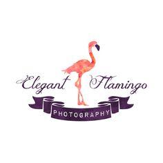 Watercolor make up logo, flamingo, blog header