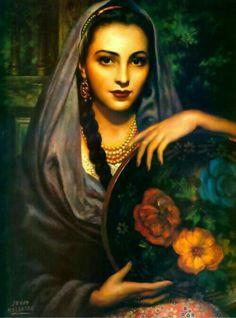 Michoacana, by legendary Mexican painter, Jesús Helguera (Taylor Monk Mexican Artwork, Mexican Folk Art, Mexican Artists, Santa Sara, Art Chicano, Jorge Gonzalez, Portraits, Wow Art, Art Graphique