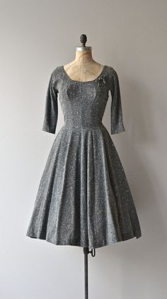 Frostfelt dress vintage 1950s dress gray wool 50s by DearGolden