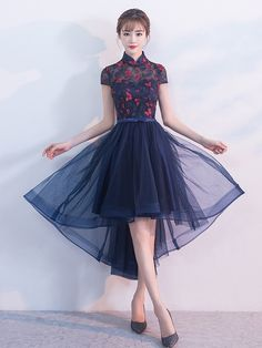 Blue A-line Qipao / Cheongsam Dress with Dip Hem