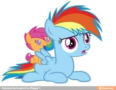 Rainbow Dash and Scootaloo. I remember that moment! She scared the hay out of me.