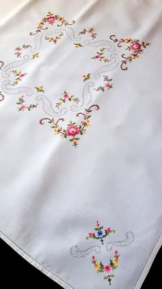 Vintage handmade tablecloth with cross stitch by DoiliesLaceCrafts