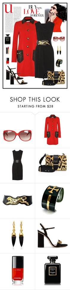 """Gucci Red Leather Trimmed Coat Look"" by romaboots-1 ❤ liked on Polyvore featuring Gucci, Alexander Wang, Prada, BMW, Theodora Warre and Chanel"