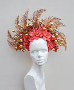 Excited to share the latest addition to my shop: Christmas Party Spirit Winter Headdress Flower Crown Red Gold Headpiece Festival Headband Halloween Costume Gold Wedding Crowns, Headpiece Wedding, Bridal Headpieces, Gold Headpiece, Flower Headpiece, Casco Floral, Christmas Headpiece, Bride Hair Accessories, Halloween Kostüm