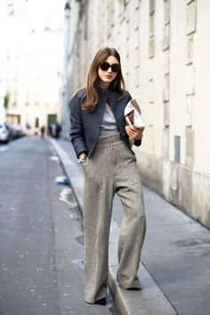 oversized sunglasses, cropped bomber jacket, grey top and wide leg pants #style #fashion #work #office #streetstyle