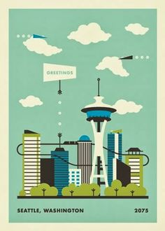 Seattle, clean vintage illustration style by jacob Cummings.