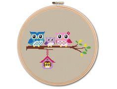 Family of Owls Counted Cross stitch Pattern par KHANNAandILAN