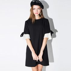 Gender: WomenDecoration: BowWaistline: NaturalSleeve Style: RegularPattern Type: SolidStyle: CasualBrand Name: TWOTWINSTYLEMaterial: CottonMaterial: PolyesterSe