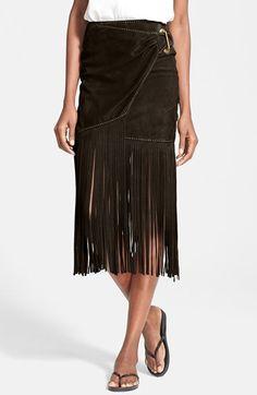 Tamara+Mellon $1,295. Fringe+Suede+Midi+Skirt+available+at+#Nordstrom