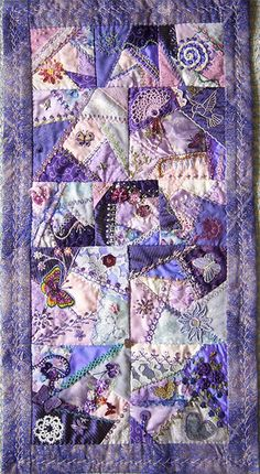 I ❤ crazy quilting . Purple gives joy- My DYB RR on the Crazy Quilters around the World. A small wallhanging in one of my favourite colors. I added six 4 blocks to get the work more rhythm. ~By Helina Penttinen, Helinacq Crazy Quilting, Crazy Quilt Stitches, Crazy Quilt Blocks, Crazy Patchwork, Patch Quilt, Quilting Projects, Quilting Designs, Sewing Projects, Quilting Templates