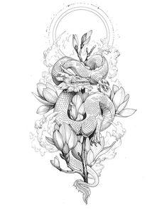 Kunst Tattoos, Irezumi Tattoos, Body Art Tattoos, Star Tattoos, Arabic Tattoos, Tatoos, Dragon Tattoo For Women, Dragon Tattoo Designs, Cute Dragon Tattoo