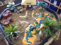 Safari small world Zoo Animal Activities, Sensory Activities, Summer Activities, Toddler Activities, Dramatic Play Themes, Early Years Classroom, Tuff Spot, Jungle Animals, Wild Animals