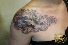 rose with lace tattoo by artist Sally Roelofs Shell Tattoos, Lace Tattoo, Purple Lace, Green Rose, Sally, Ink, Thoughts, Artist, Purple Ribbon