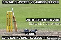 Positive ATTITUDE determine ABILITY and unfolds MOTIVATION inside a person...... With this positive attitude Yet another Exciting match is coming to witness, Dental Blasters Vs Amigos Eleven, on 24th September'2016, Day n Night Match, Starts at 7pm, at Guru Gobind Singh College of Commerce, Pitampura. #DentalBlasters #DentistsCricketTeam
