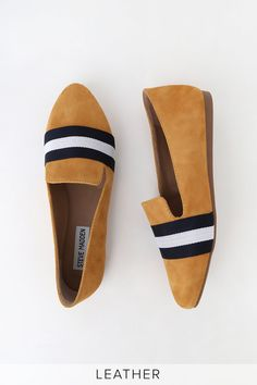 When it comes to casual style, the Steve Madden Nema Mustard Suede Leather Striped Loafers are the best in the biz! Soft suede loafers with trendy stripes. Suede Loafers, Loafer Flats, Soft Suede, Mustard Yellow, Suede Leather, Blue And White, Footwear, Boots, Size 10