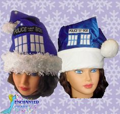fan of Doctor who Santa Hat TArDIS style confetti dot sparkle