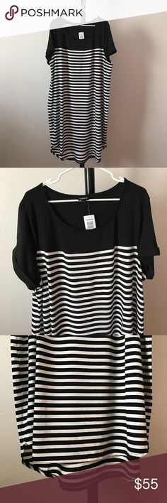 NWT Striped tee dress Torrid size 3 (Per their size chart, equivalent to size 3X; size 22/24). Sporty cuffed sleeves.  fgonniam torrid Dresses