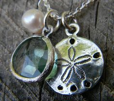 Sand Dollar and Sea Glass Charm Necklace Sterling by Greenperidot, $26.50