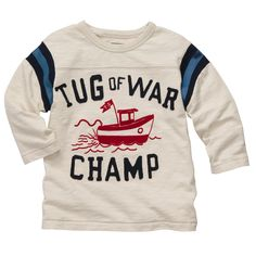 Long-Sleeve Embellished Tug Boat Graphic Tee | Baby Boy Tops & Bodysuits