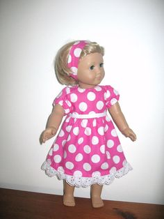 Doll Clothes for 18 Inch American Girl Dolls, Hot Pink and White Polka Dot American Girl Doll Dress on Etsy, $11.95