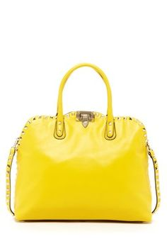 Valentino Leather Stud Satchel by Designer Handbag Shop on Studded Handbags, Tote Handbags, Mellow Yellow, Evening Bags, Fashion Bags, Purses And Bags, Valentino, Satchel, My Style