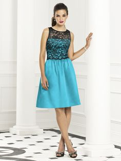 Cocktail length sleeveless dress w/ black or ivory lace bodice over matte satin. Full shirred skirt with pockets at side seams. Style 6656 - Turquoise