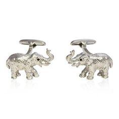 Brushed Silver Elephant Cufflinks