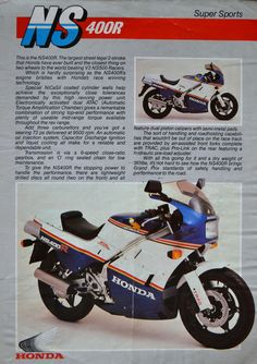 Honda NS400R Brochure collecting in 1985 all the Honda dealer offered was this A4 info sheet
